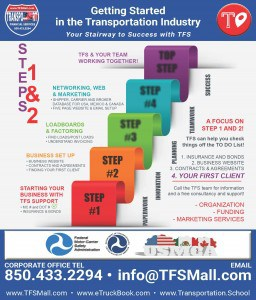 Starting your Transportation Business - Steps 1 and 2 - Getting legal!  Getting your first client!  Let TFS help you!